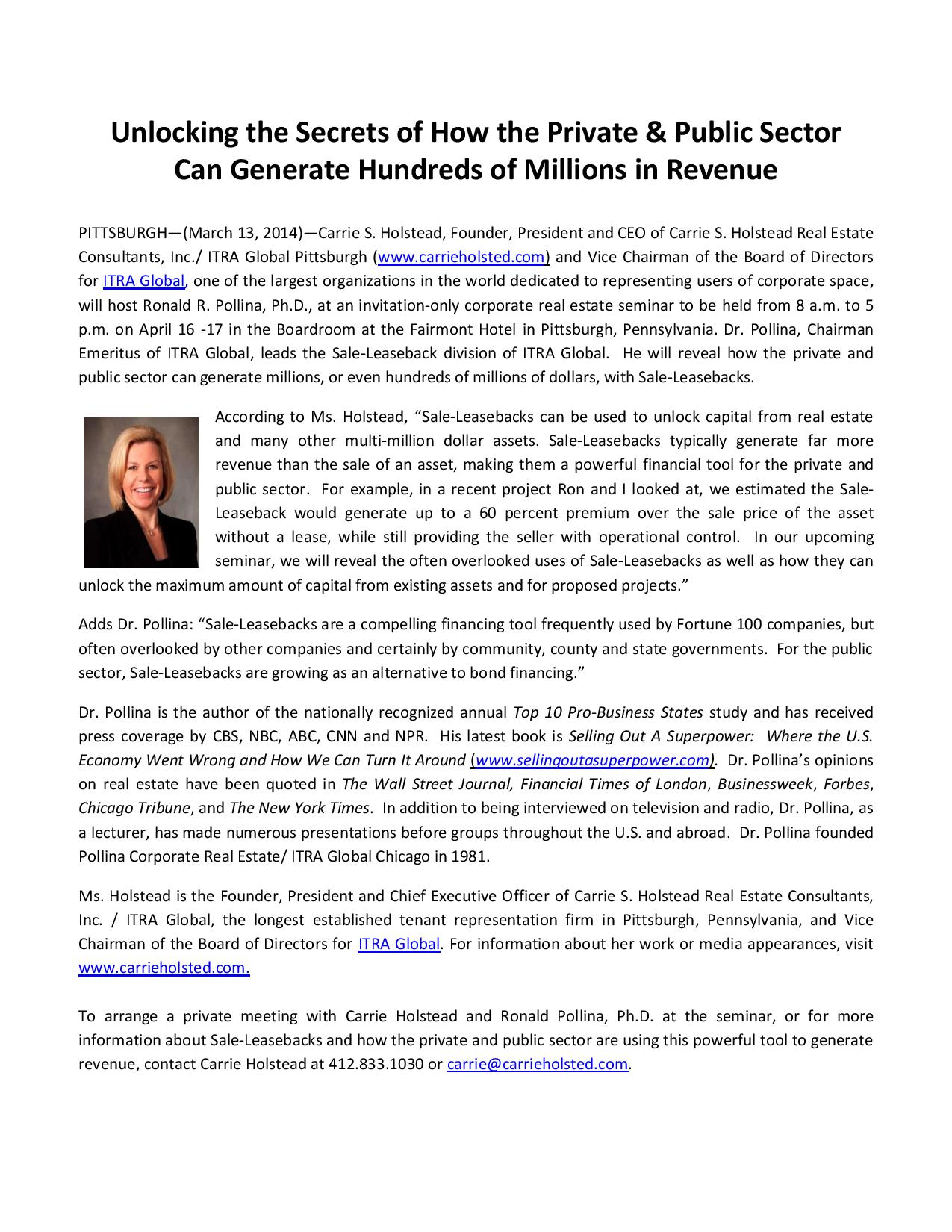 Press Release - How The Private & Public Sector Can Generate ...