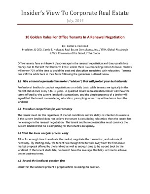 10 Golden Rules For Office Tenants In A Renewal Negotiation