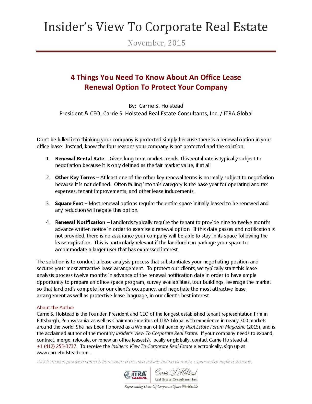 4 things you need to know about an office lease renewal option to